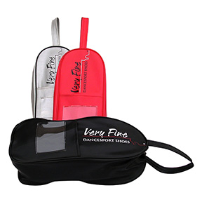 Shoes bag with wrist strap, zip, and compartments for small accessories