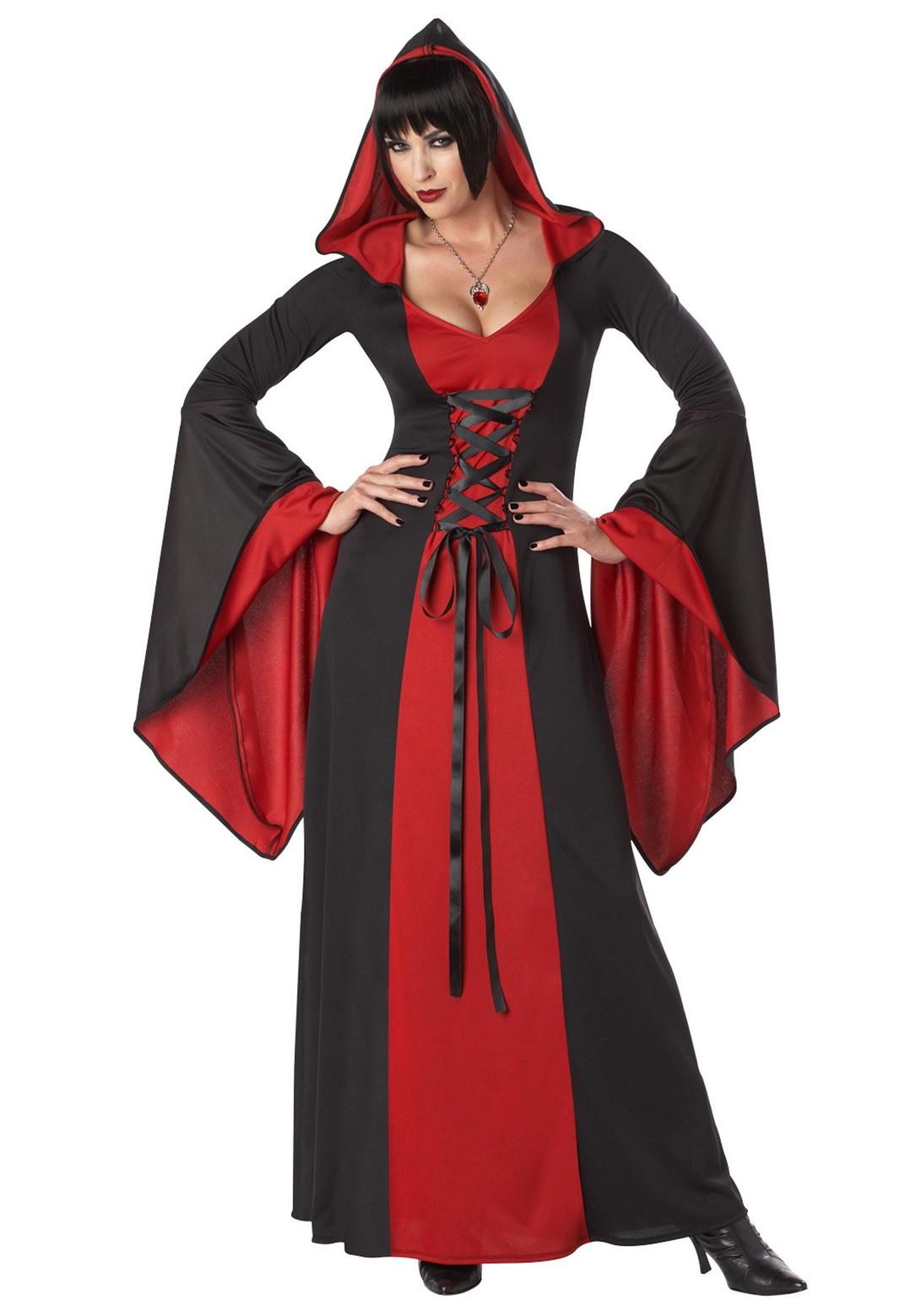 Adult Red Black Female Hooded Robe Costume