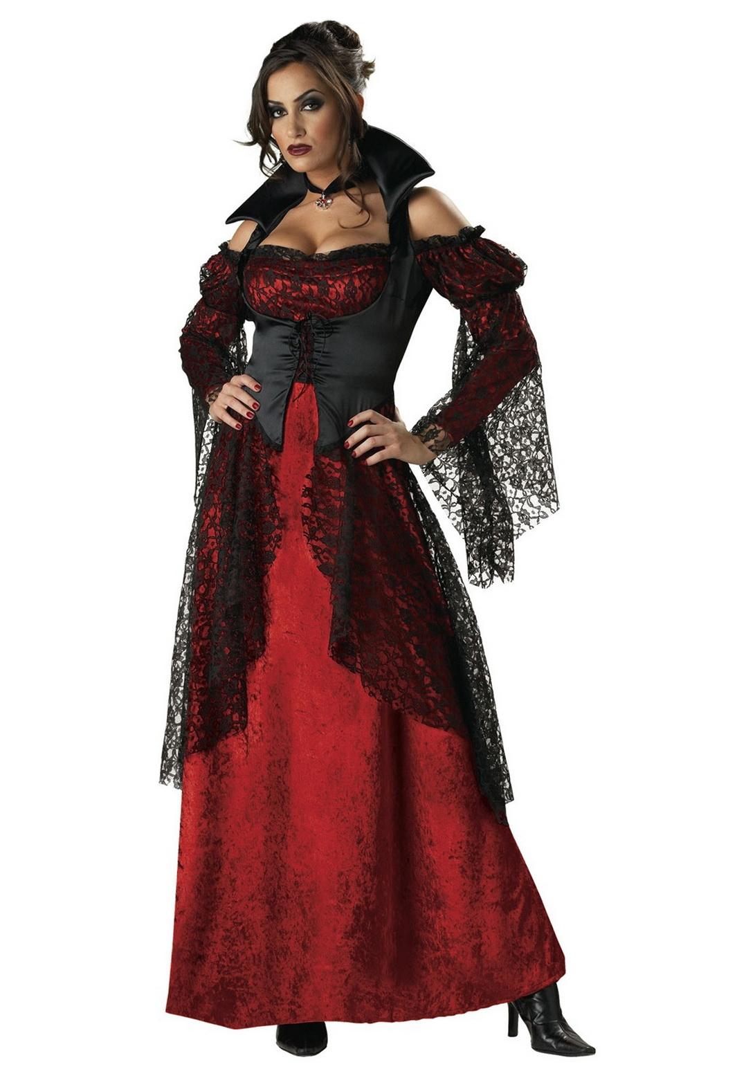 Adult Sexy Red Black Vampiress Costume