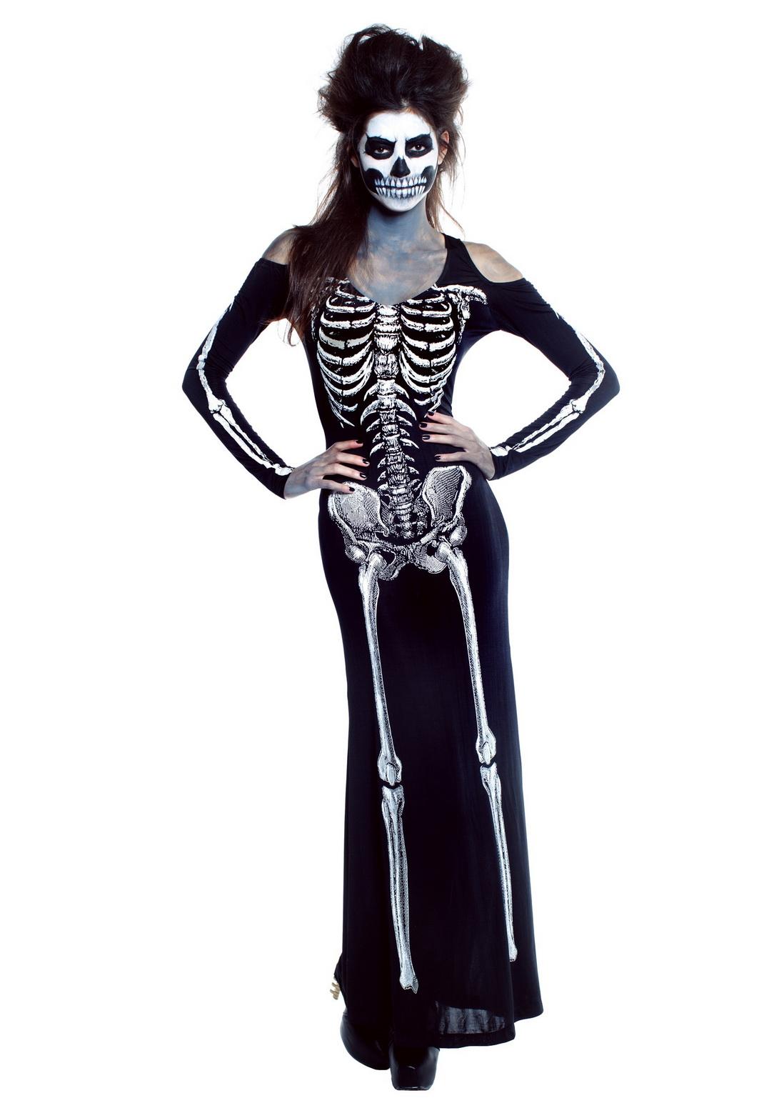 Womens Bone Skeleton Long Dress Costume
