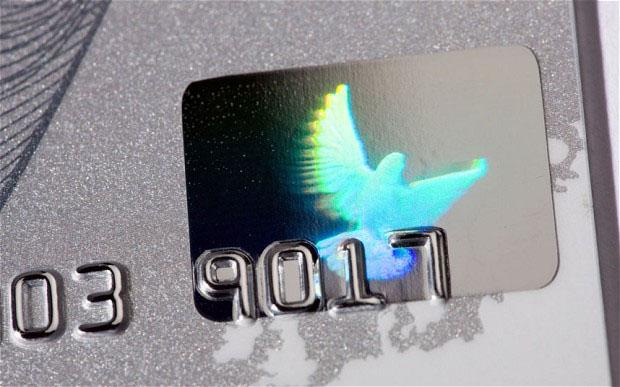 Visa bank card dove hologram